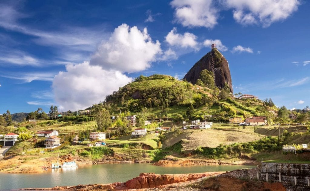 View of the Guatape rock and the reservoir