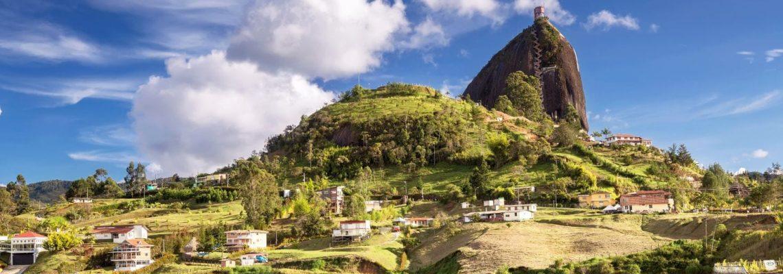 Guatape rock and reservoir